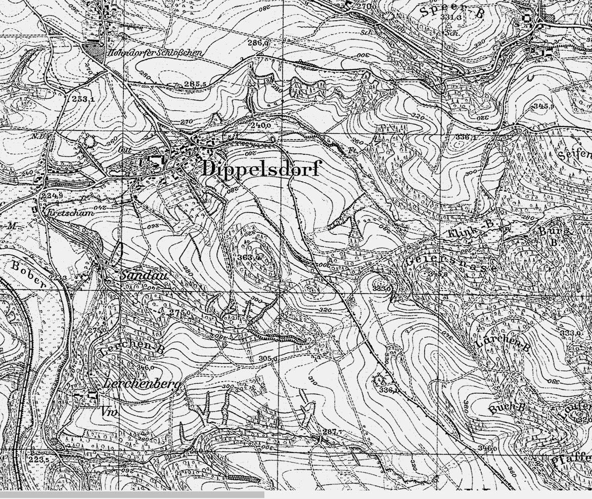 """Dipopelsdorf (żródło """"Archiwum Map Zachodniej Polski"""")"""